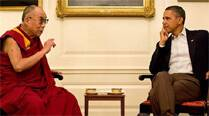 Obama played 'dumb' at his meeting with the Dalai Lama at the White House on Thursday. (AP)