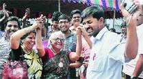 Perarivalan's mother Arputham celebrates in Chennai Tuesday. PTI