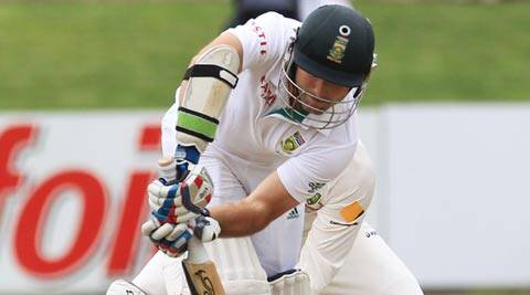 Dean Elgar, who took 20 balls to score his first run in this match, opened his tally against Australia, having been dismissed for a pair in Perth on his Test debut (AP)