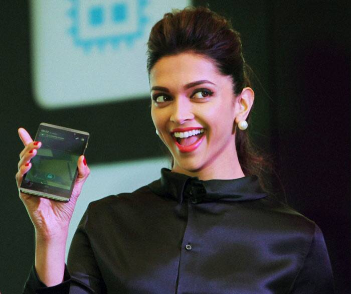 Deepika Padukone was all smiles as she launched a tablet computer at an event in New Delhi on Thursday. (PTI)