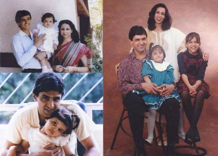 Dimpled beauty Deepika can be instantly recognised by her famous father Prakash Padukone. She has a charm on her face. Seen here with mother Ujjala, younger sister Anisha and father Prakash Padukone.