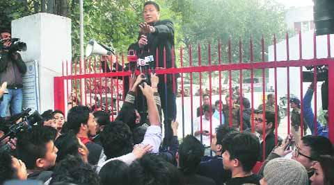 JCP Robin Hibu addresses protesters outside Lajpat Nagar  police station on Saturday.
