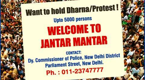 The ad clarifies that only up to 5,000 persons can protest at Jantar Mantar at a time.