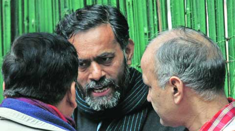 Sanjay Singh (left), Yogendra Yadav (centre) and Sisodia on Saturday.  Prem Nath Pandey