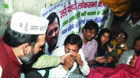 AAP leader Gopal Rai with the protesters on Wednesday evening.Amit Mehra
