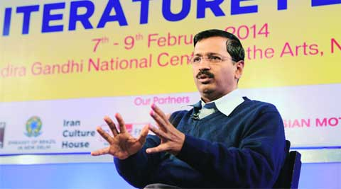 CM Arvind Kejriwal at the Delhi Literature Festival on Sunday.EXPRESS