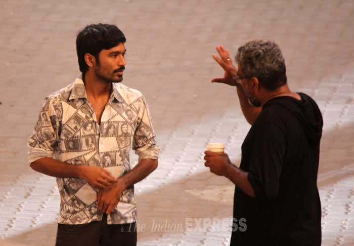 On the sets of Dhanush, Akshara Haasan's R Balki film