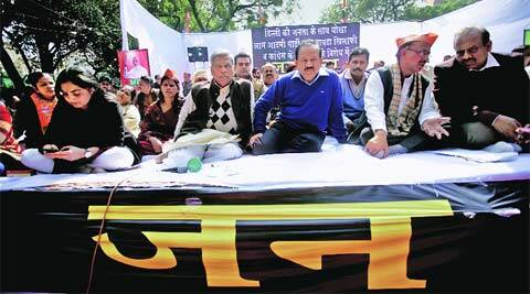 BJP leaders at the dharna in Jantar Mantar on Tuesday.