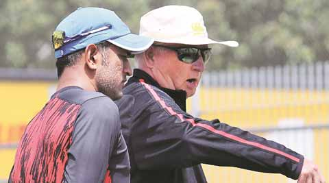 India skipper MS Dhoni with coach Duncan Fletcher at a practice session. Photo: Daksh Panwar