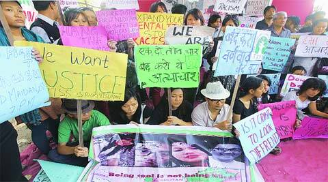 Student representatives protest against the murder of Arunachal Pradesh native Nido Taniam in Delhi, at Azad Madian on Tuesday. (Ganesh Shirsekar)