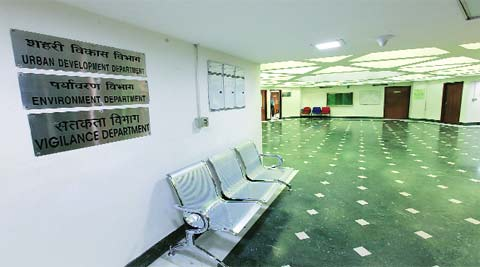 Delhi secretariat wears a deserted look. (Ravi Kanojia)