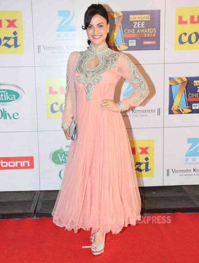 'Bigg Boss 7' participant 'Elli Avram' was pretty in a peach anarkali with heavy embroidery. The 'Mickey Virus' actress opted for minimal jewellery and make-up. (Photo: Varinder Chawla)