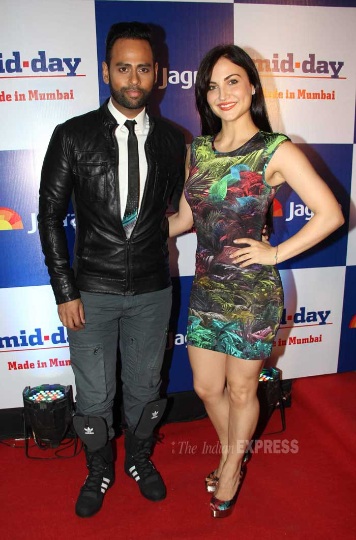 'Bigg Boss' buddies Andy and Elli Avram pose for the shutterbugs. (Photo: Varinder Chawla)