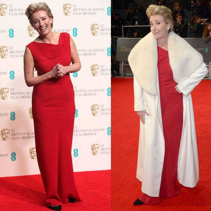 Actress Emma Thompson, who was nominated for 'Savinf Mr. Banks', matched the carpet in a red Maria Grachvogel dress with a white coat.  (AP)