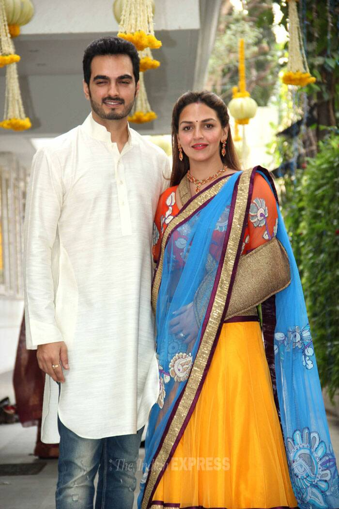 Sister Esha Deol also opted for a bright yellow lehenga by Neeta Lulla with a printed choli top, while husband Bharat wore a kurta and jeans. The 'Dhoom' actress seems to be recovering from an injury as she sported a gold coloured sling. (Photo: Varinder Chawla)