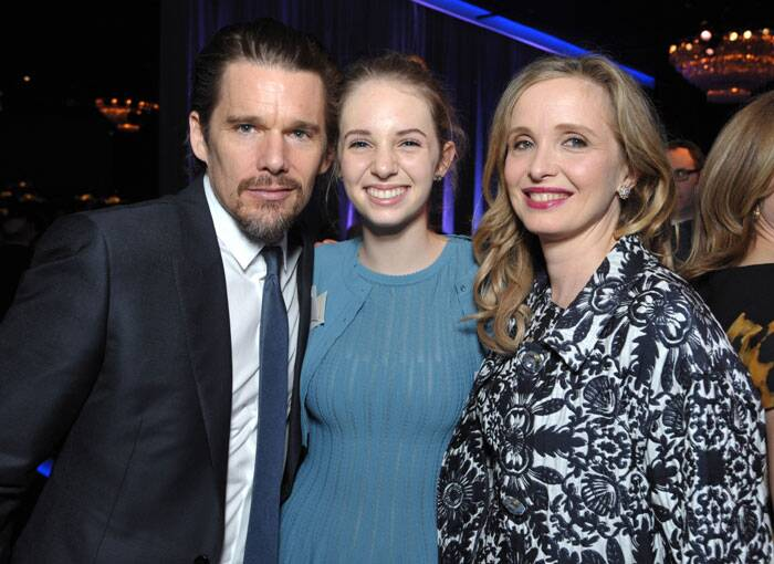 Candid shot – Ethan Hawke, Maya Thurman-Hawke and Julie Delpy at the Luncheon. (AP)