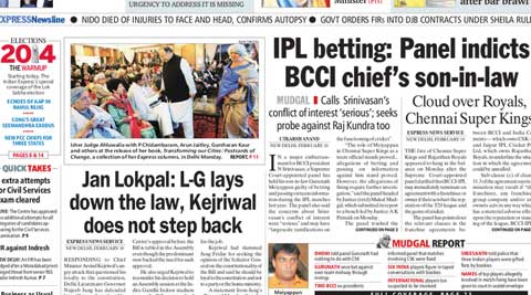 Mudgal Report on IPL betting, L-G lays down the law, the Rahul rejig and more - five Indian Express must read stories.