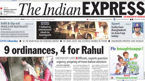Indian Express on February 26th, 2014.