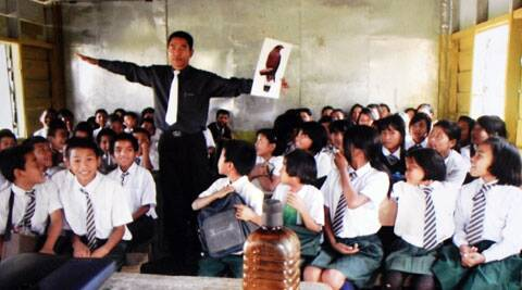 H Lalhmunsiama at an awareness campaign in a Mizoram school. (IE Photo)