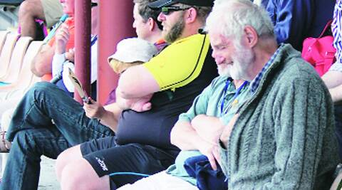 Allen Jones, blind since birth, at the  Basin Reserve on Saturday.
