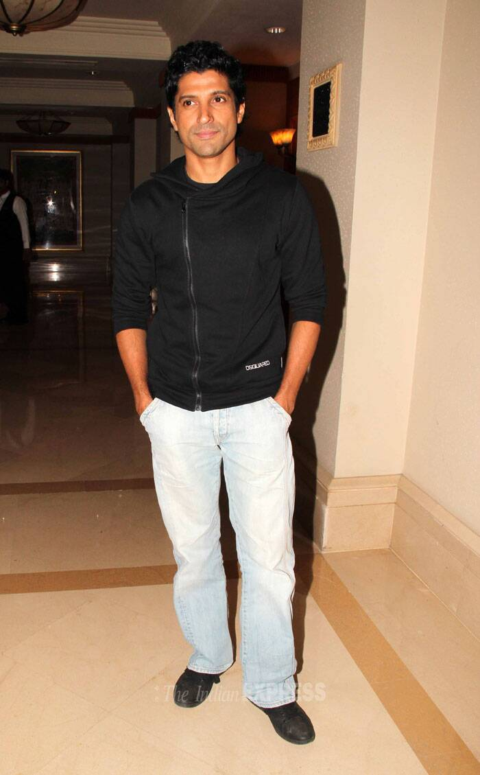 Farhan Akhtar  went casual in a black jacket and faded denims. (Photo: Varinder Chawla)