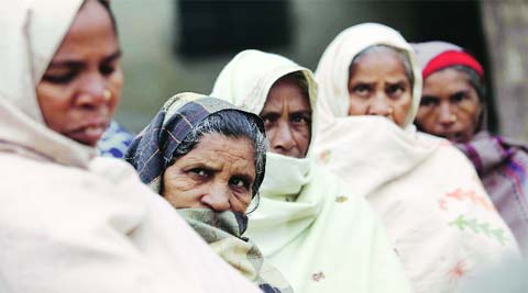 At Raniwala in Muktsar; all these women lost their husbands. (Gurmeet Singh)