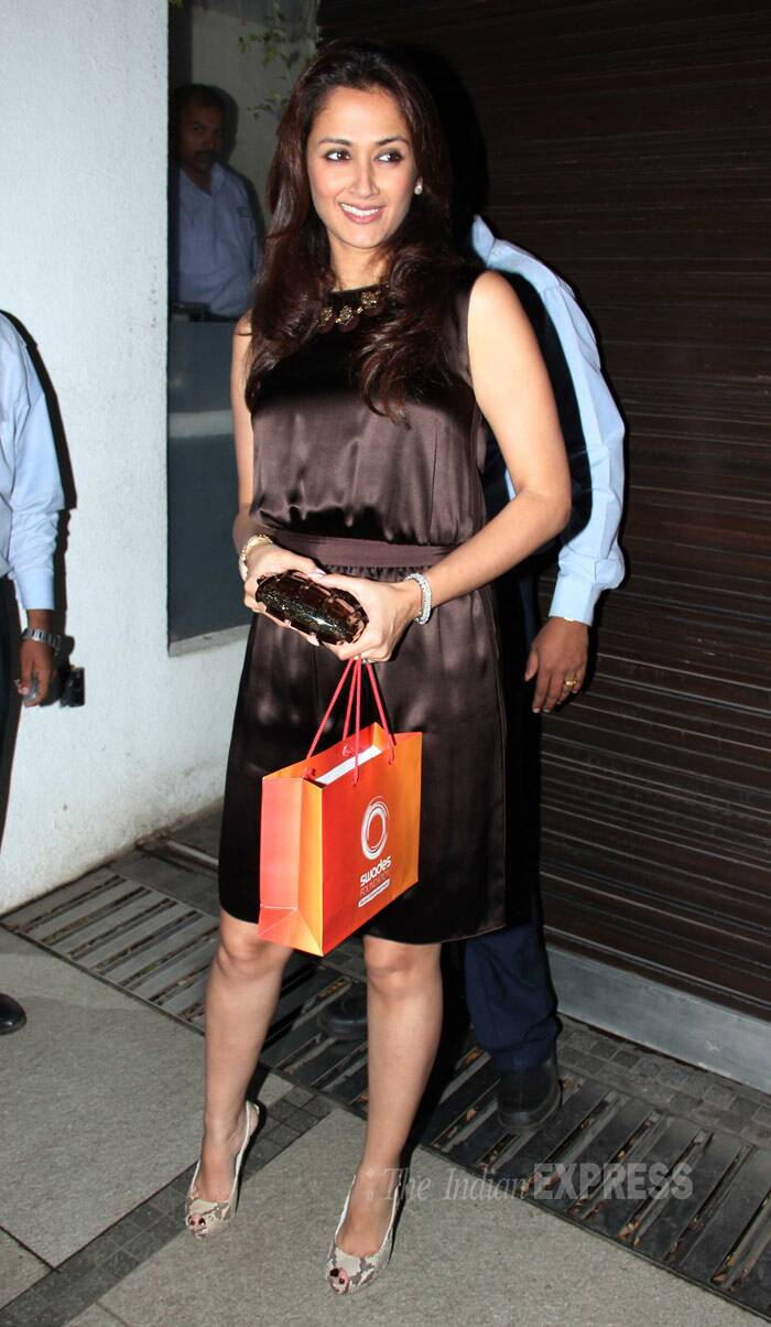 'Swades' actress Gayatri Joshi was pretty in a chocolate coloured sleeveless number with light coloured peep-toes. (Photo: Varinder Chawla)