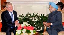 Prime Minister Manmohan Singh and German President Joachim Gauck during a meeting at Hyderabad House in New Delhi on Wednesday. (PTI)