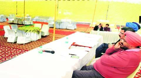 At the GLADA auction in Ludhiana on Tuesday. (Gurmeet Singh)