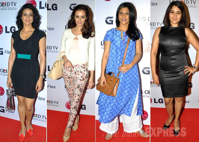 Actress Gul Panag looked hot in a belted LBD while Evelyn Sharma chose printed crop pants with a white top. Konkona Sharma was elegant in her ethnic wear. Tv actress Narayani Shatri looked a bit fuller in her attire. (Photo: Varinder Chawla)