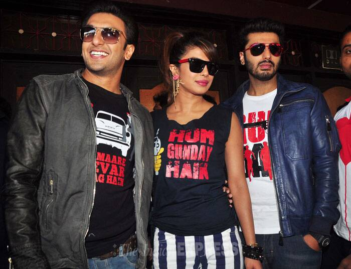 Gundays – Priyanka Chopra, Ranveer Singh and Arjun Kapoor  visited the suburban theatre Gaiety – Galaxy to check out the reaction of fans to their mafia action thriller. (Photo: Varinder Chawla)