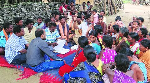 PMRD fellow Anup Giri with  villagers in Malkangiri.