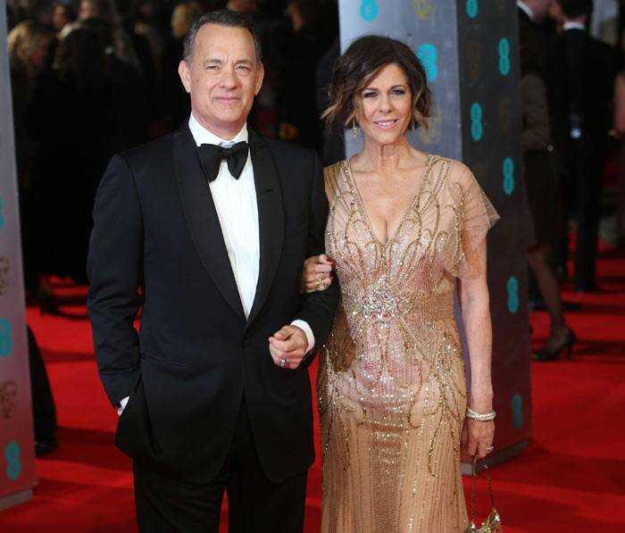 'Saving Mr. Banks' actor Tom Hanks and wife Rita Wilson made a lovely pair on the red carpet. (AP)
