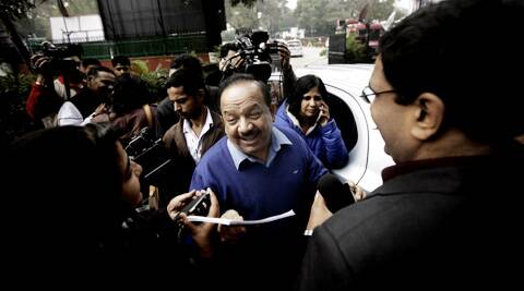 BJP leader Harsh Vardhan after a party meeting on Saturday. (IE Photo: Praveen Khanna)