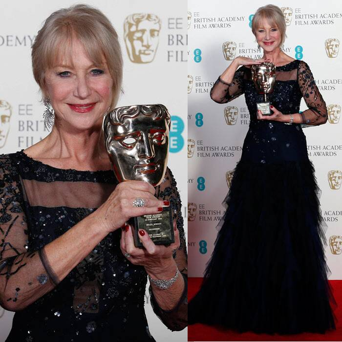 Dame Helen Mirren took away the BAFTA Fellowship Award for her contribution to film. She was presented the award by Prince William. (Reuters)