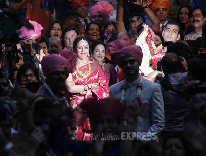 Actress Hema Malini looks happy at the wedding. (Photo: Varinder Chawla)