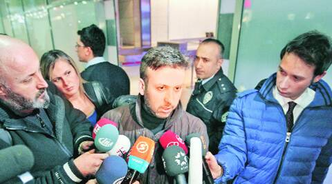 A passenger from the hijacked aircraft talks to the media in Istanbul late Friday.(Reuters)
