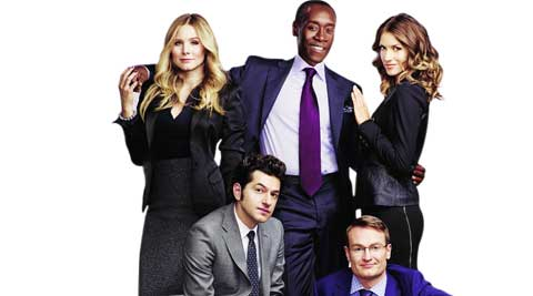 (Clockwise from left) Kristen Bell, Don Cheadle, Dawn Olivieri, Josh Lawson and Ben Schwartz in House of Lies