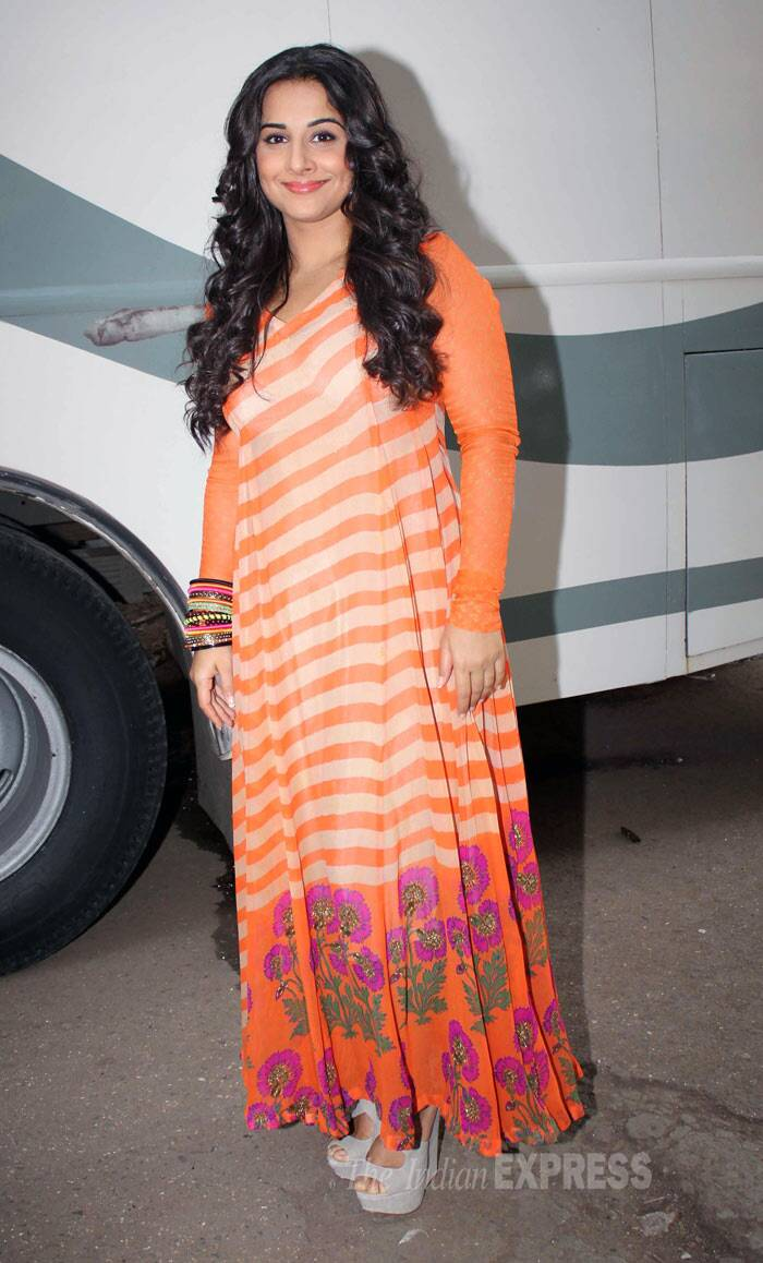 Vidya Balan was lovely in a orange Anupamaa maxi as she visited the sets of 'Bade Acche Lagte Hain' to promote 'Shaadi Ke Side Effects'. (Photo: Varinder Chawla)