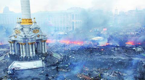 Scenes from Kiev, where clashes left at least 26 dead and hundreds injured on Wednesday.(Reuters)