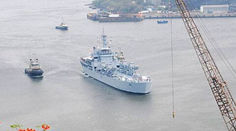 INS Airavat, the latest of the Shardul class of tank-landing ships, has suffered damage to its propellers. (AP Photo)