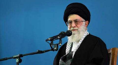 Iran's supreme leader Ayatollah Ali Khamenei makes a speech to military members in Tehran, Iran. (AP)