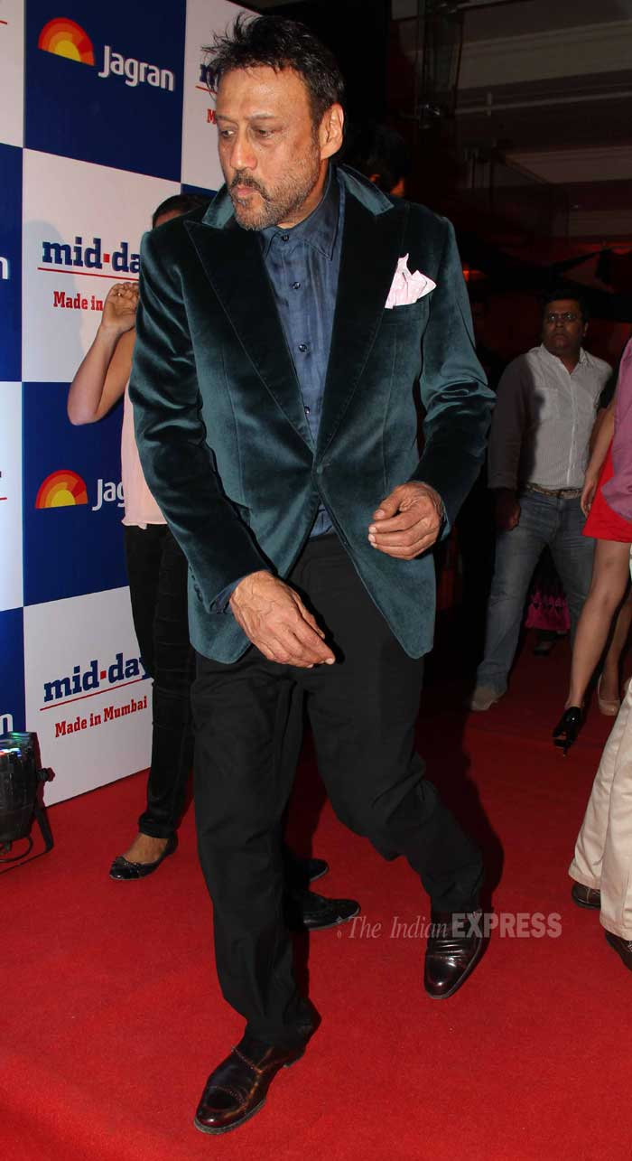 Jackie Shroff makes a swooshing entry. The actor was dapper in the velvet blazer. (Photo: Varinder Chawla)