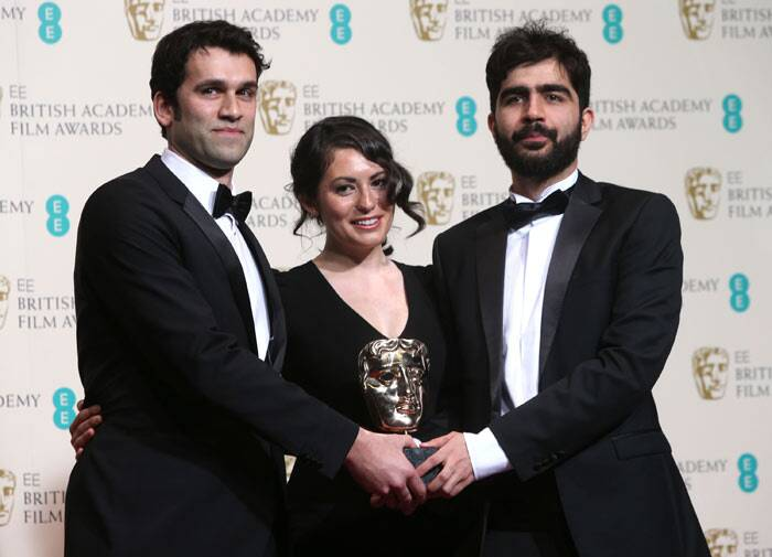 James Walker, Sarah Woolner and Yousif Al-Khalifa won the BAFTA for Best British Short Film for 'Sleeping with the Fishes.' (Reuters)