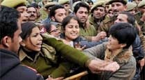 Police stop the women activists of Bharatiya Janata Party during a protest 'Secretariat Gehrao' on the first day of Assembly session, in Jammu. (PTI)