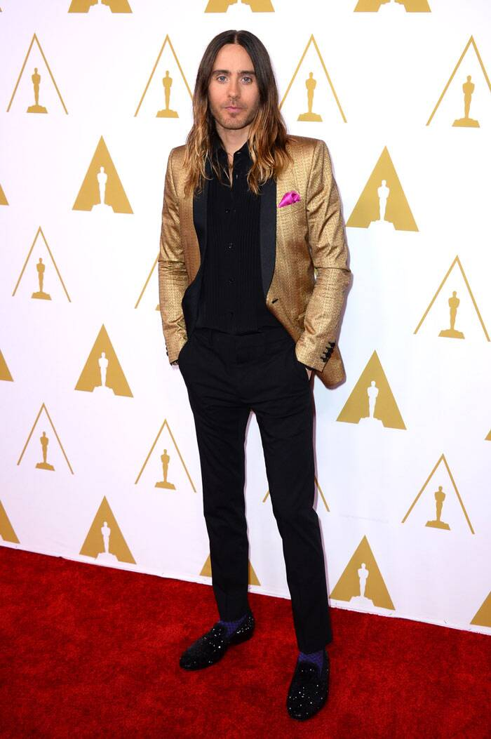 Jared Leto was smart in the black formals and jazzy golden jacket for the Luncheon. (AP)