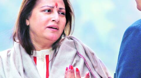 Jaya Prada outside Parliament on Thursday.AMIT MEHRA