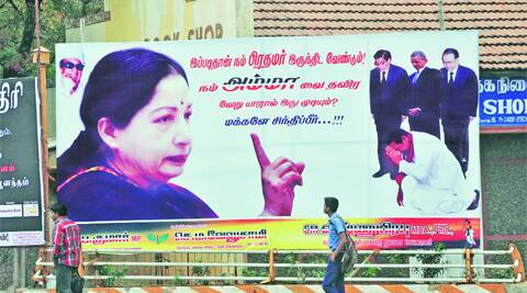"This is in Coimbatore, showing the kind of respect a PM should ideally command from world leaders. The one kneeling is Sri Lankan President Mahinda Rajapakse. The words translate as, ""This is how our PM should be. Who can be so, other than our Amma? Think, people!"" R Balu Mahendran"
