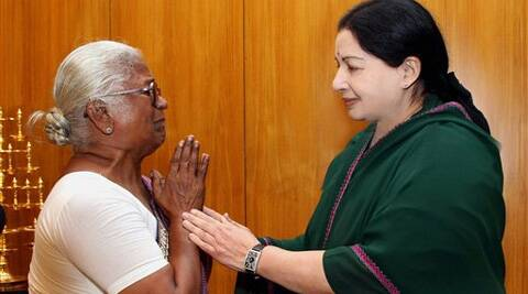 Arputhammal, mother of Perarivalan, a death row convict in the Rajiv Gandhi assassination case, with Tamil Nadu Chief Minister Jayalalithaa. (PTI)