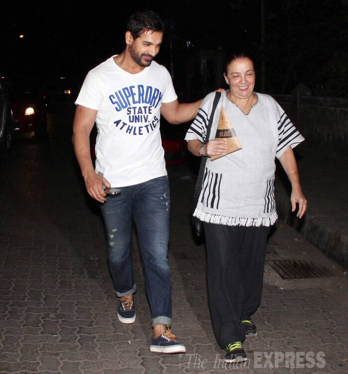 In another part of town, actor John Abraham was spotted spending sometime with his parents. Seen here, the actor is along with his mother Firoza Irani. (Photo: Varinder Chawla)